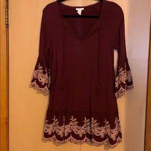 Burgundy babydoll dress